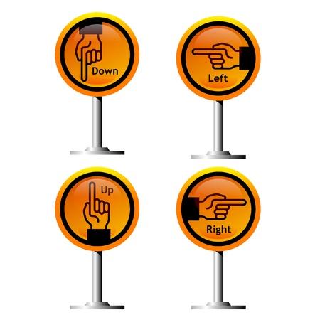 direction hand symbols on yellow signs Illustration