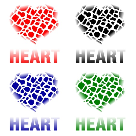 images of hearts consisting of small broken parts Vector