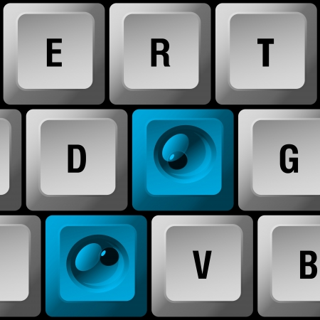 computer keyboard with blue buttons with eyes Illustration