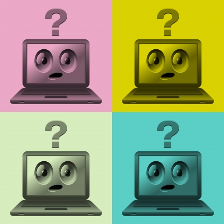 colorful images of laptops with faces  Illustration