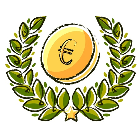 laurel wreath with euro currency coin