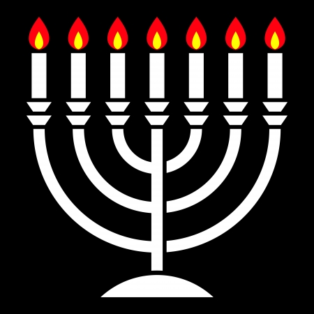 judaical: menorah with seven candles burning