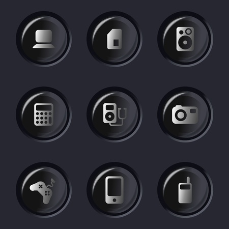 glossy set of electronic device icons Vector