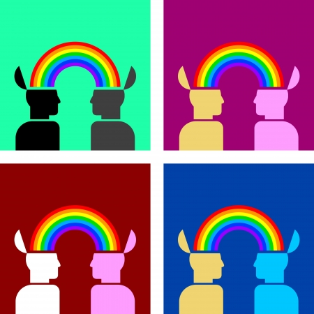 colorful image of rainbow connecting people Vector