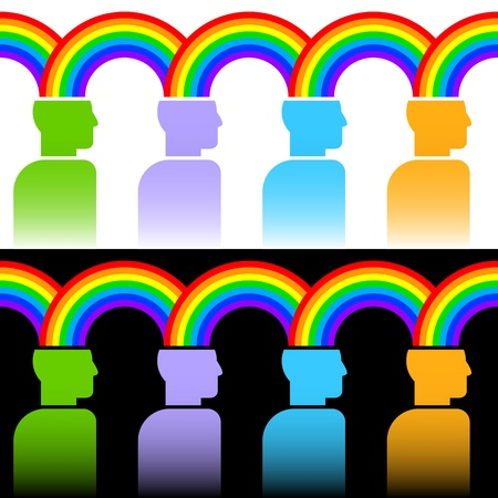 contentment: colorful image of rainbow connecting people