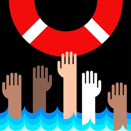saver: icon of life buoy and hands in water