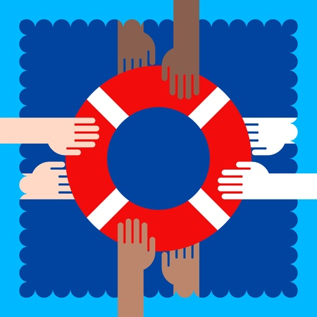 icon of life buoy and hands in water Vector