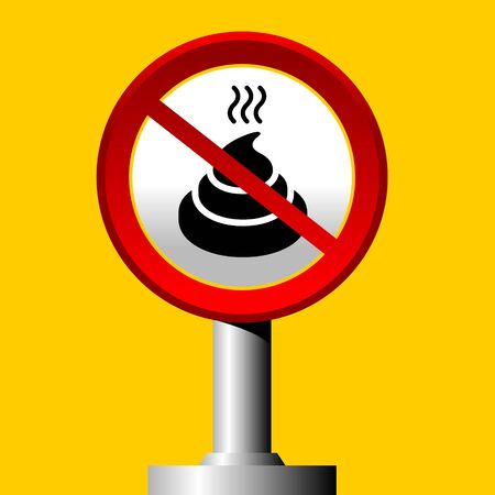 no poop sign on yellow background Vector