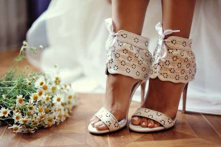 garter: Wedding shoes Stock Photo