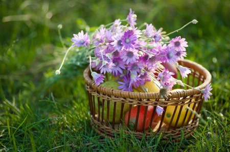 on a grass there is a wattled vase with fruit and wild flowers photo