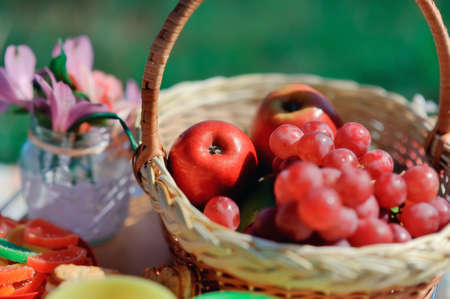 basket with fruit and flowers Stock Photo - 14059908