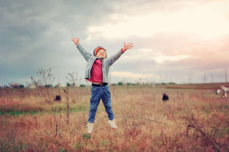 the boy in the field jumps Stock Photo