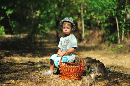 iquest: The wood, clearing on hemp sits the boy with a basket