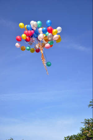 bright, color, balloons fly on the blue sky photo