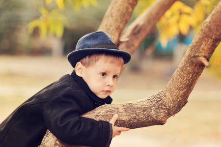 the boy in the autumn wood in a hat and a coat among trees photo