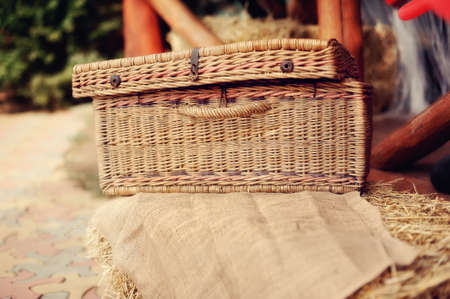 on hay covered the wattled basket costs a linen fabric brown photo