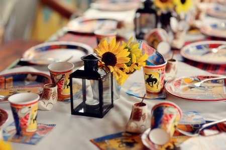 the long banquet table is decorated with color plates and cups for children