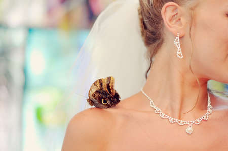 on the shoulder of the bride sits a large and beautiful butterfly decoration on neck photo