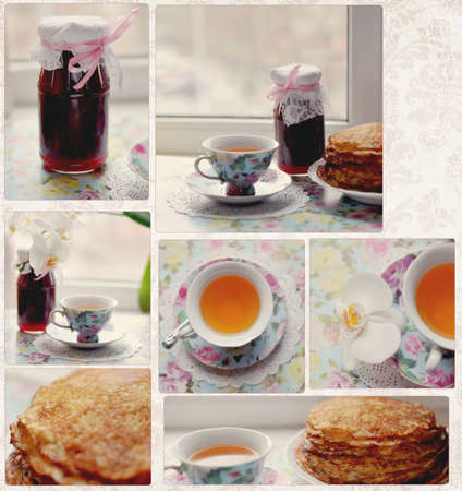 Collage - the bank is on the window sill with cherry jam and savory pancakes photo