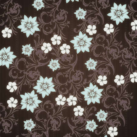 on a brown background shows a pattern of flowers and leaves Stock Photo - 15389405