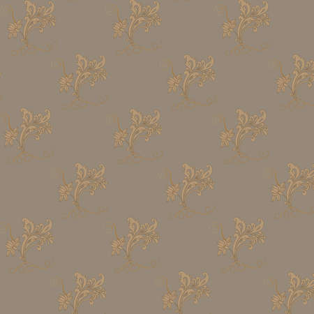 on a brown background shows a pattern of flowers and leaves Stock Photo - 15544282