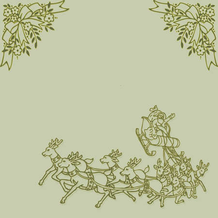 on a green background sleigh with Santa Claus and reindeer and floral frame photo