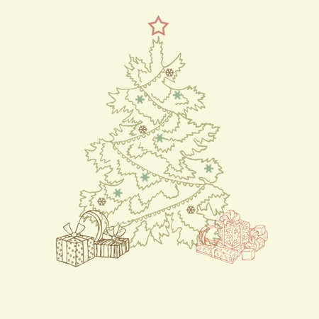 Beautiful Christmas tree illustration  Christmas Card illustration