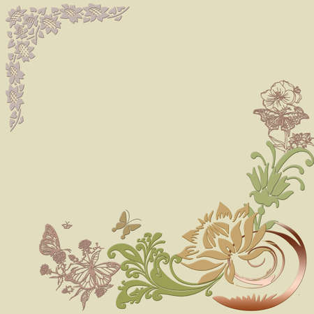 on a gentle floral background with butterflies angles photo