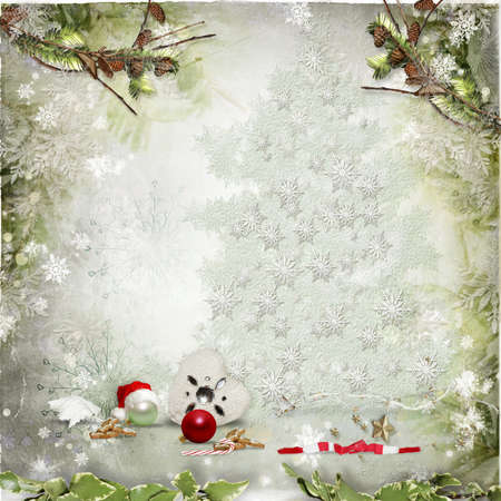 Art vintage Christmas greeting card photo