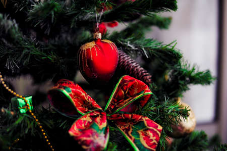 Christmas tree decorated with different beautiful toys Stock Photo - 15979524