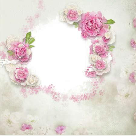 borde de flores: Fondo de la vendimia con el sello del marco y las flores para felicitaciones e invitaciones Foto de archivo