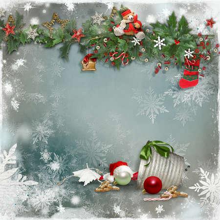 Art vintage Christmas greeting card Stock fotó - 16253824