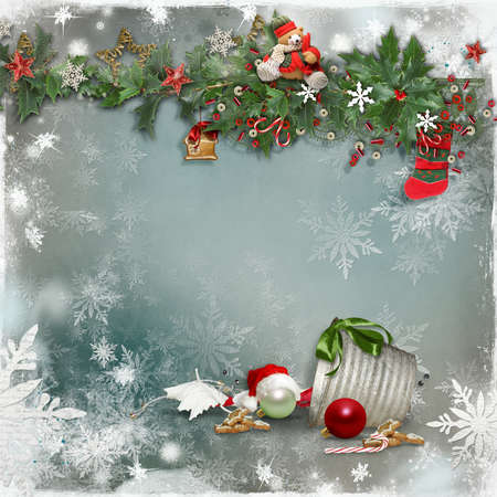 Art vintage Christmas wenskaart photo