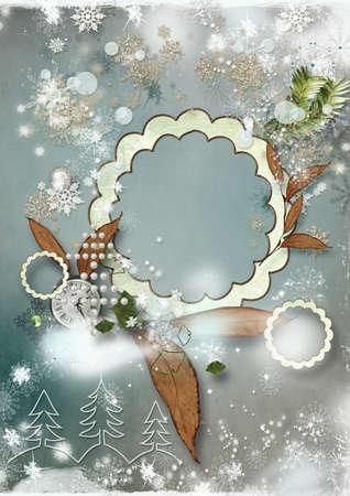 Art vintage Christmas greeting card photo