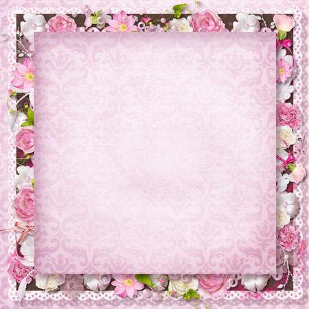 wedding photo frame: Vintage background con timbro-telaio e fiori per congratulazioni e gli inviti Archivio Fotografico