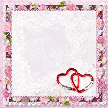 pink floral greeting card with hearts for Valentine s Day Stock Photo - 16617828