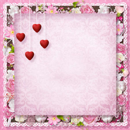 pink floral greeting card with hearts for Valentine s Day photo