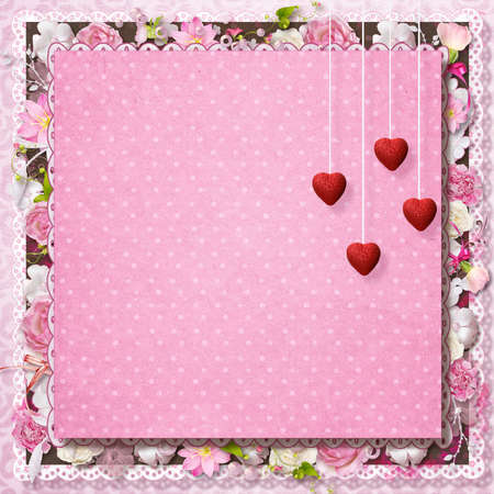 pink floral greeting card with hearts for Valentine s Day Stock Photo - 16617834