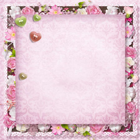 victorian anniversary: pink floral greeting card with hearts for Valentine s Day