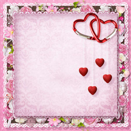 pink floral greeting card with hearts for Valentine s Day Stock Photo - 16617833