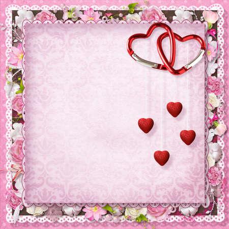 cartoline vittoriane: Scheda floreale rosa di auguri con i cuori per San Valentino s