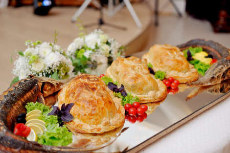 stuffed fish: beautifully designed holiday dish with stuffed fish and pies