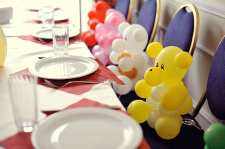 the banquet table sat colored inflatable Bears photo