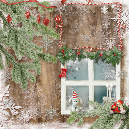 Art vintage Christmas greeting card