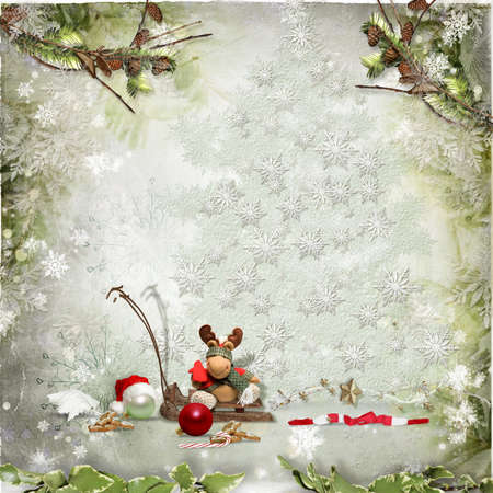 Art vintage Christmas greeting card Stock Photo - 16711641