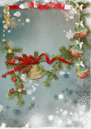 Christmas card with Christmas tree, snowflakes, toys and space for text Stock Photo - 16764949
