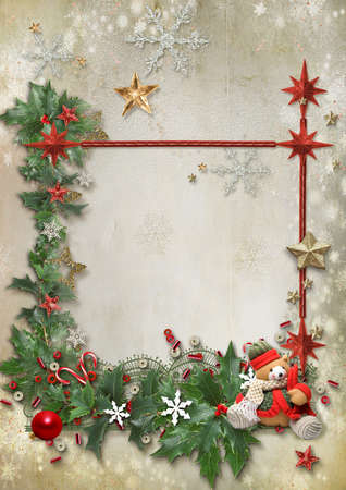 Christmas card with Christmas tree, snowflakes, toys and space for text Stock fotó