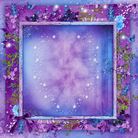 Beautiful flowers on a purple background card with hearts for Valentine s Day