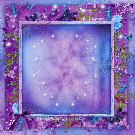 pfingstrosen: Sch�ne Blumen auf einem lila Hintergrund-Karte mit Herzen f�r Valentine s Day Lizenzfreie Bilder