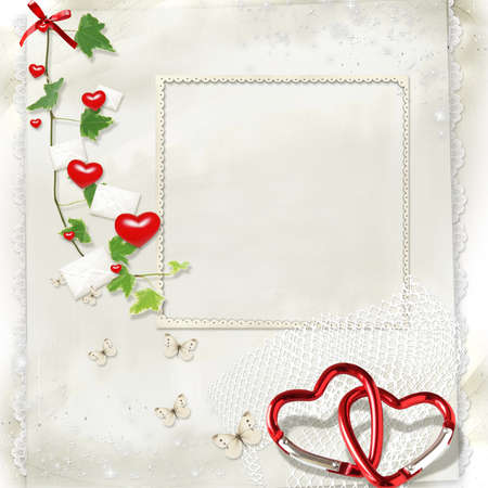 on a light background with letters and hearts green branch and a place for text photo